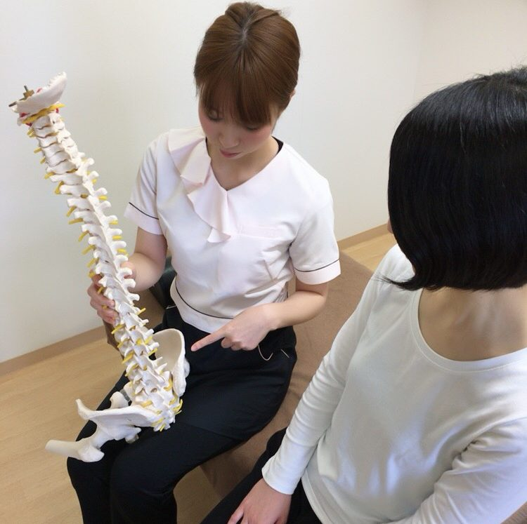 当院ではあなたの骨盤がなぜ歪むのかを、骨模型を使い丁寧に説明します。
