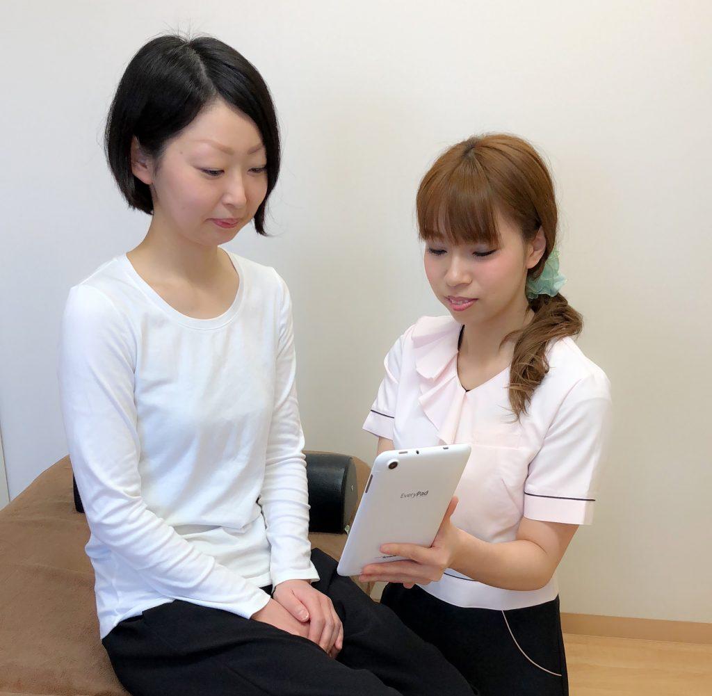 タブレットを見て施術前、施術後の体の変化を確認できます。大変解りやすいと評判です。
